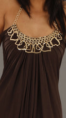 Sky Heart Halter Dress in Brown