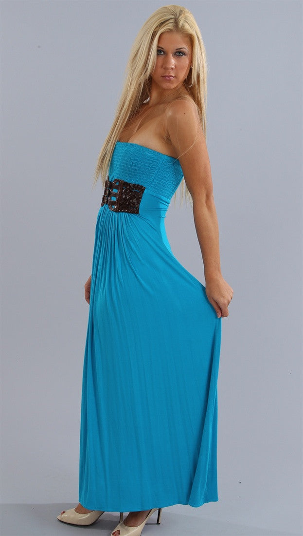 Sky Perception Belted Maxi Tube Dress in Turquoise