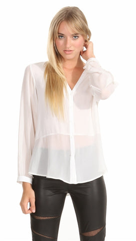 Sugar Lips Melrose Buttondown Top in White
