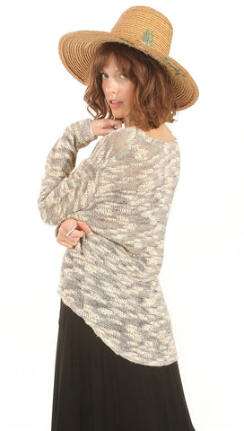 Sugar Lips Lazy Day Asymmetrical Hem Textured Sweater