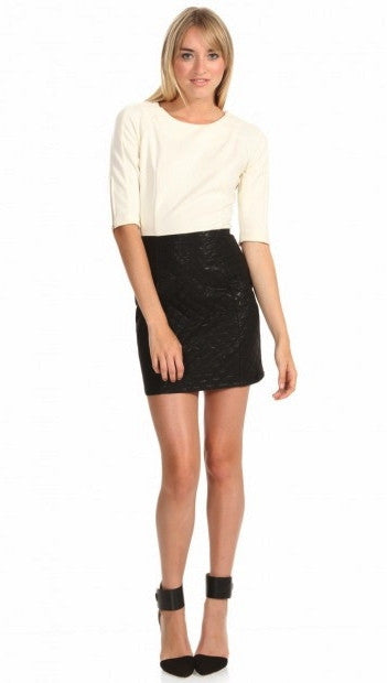 Sugar Lips Faux Leather 3/4 Sleeve Vivi Dress