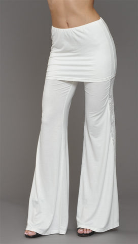 Sugar Lips Beyond Retro Wide Leg Foldover Skirt Pants in Off White