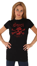Smet Born on the Streets Basic Icon Long Tunic Red Skull Tee Shirt Black