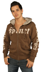 Smet Mens Leopard Animal Print Skull Zip Up Hoody Sweatshirt Brown