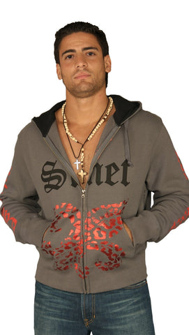 Smet Mens Knight Zip Up Hoodie Sweatshirt Grey