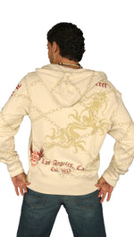 Smet Mens Dragon Chain Link Pattern Zip Up Hoodie Sweatshirt Cream