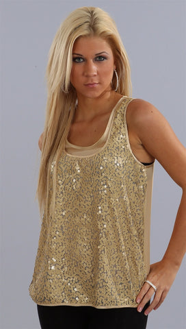 Single Dress Sequin Double Layer Silk Top in Champagne