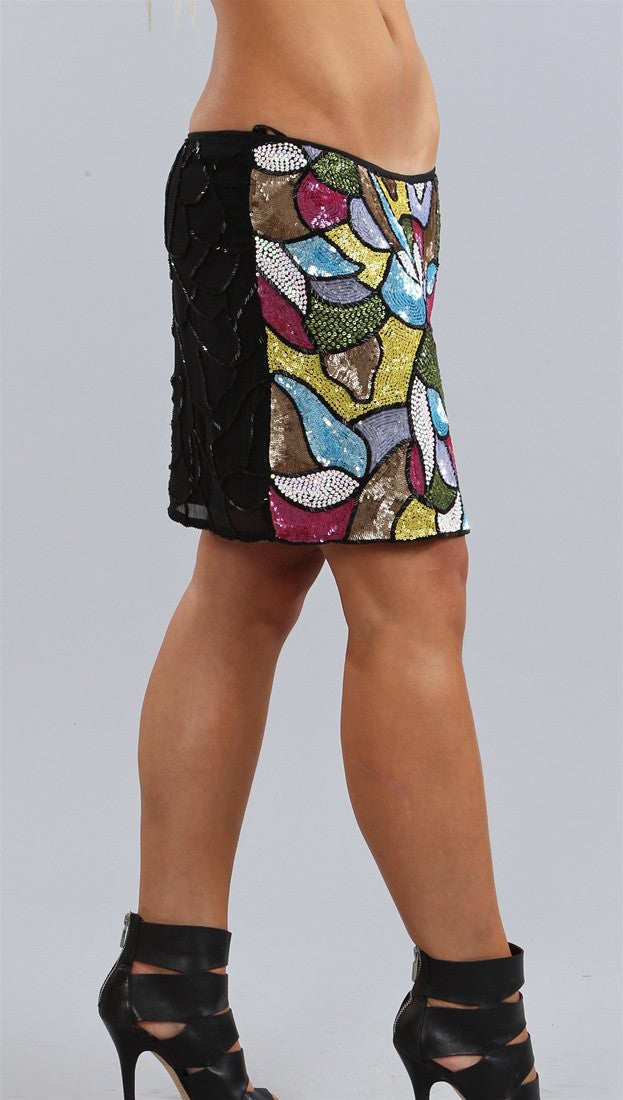 Single Dress Silk Beaded Sequin Mini Disco Skirt in Multi