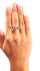 Soho Collection Love Design Square Basic Ring in Silver