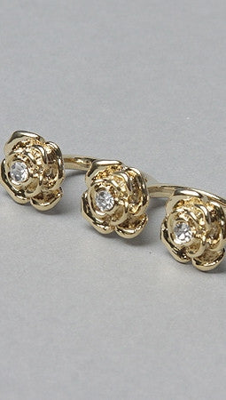 Soho Collection Two Finger Flower Ring in Gold