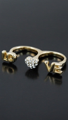 Soho Collection Two Finger Heart Love Ring Gold