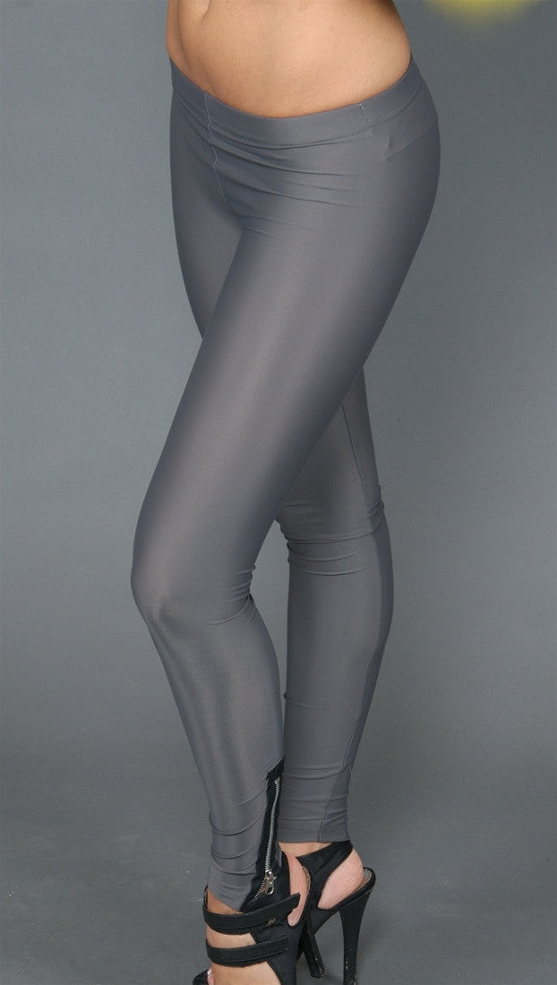 So Nikki Tricot Legging with Zipper Silver