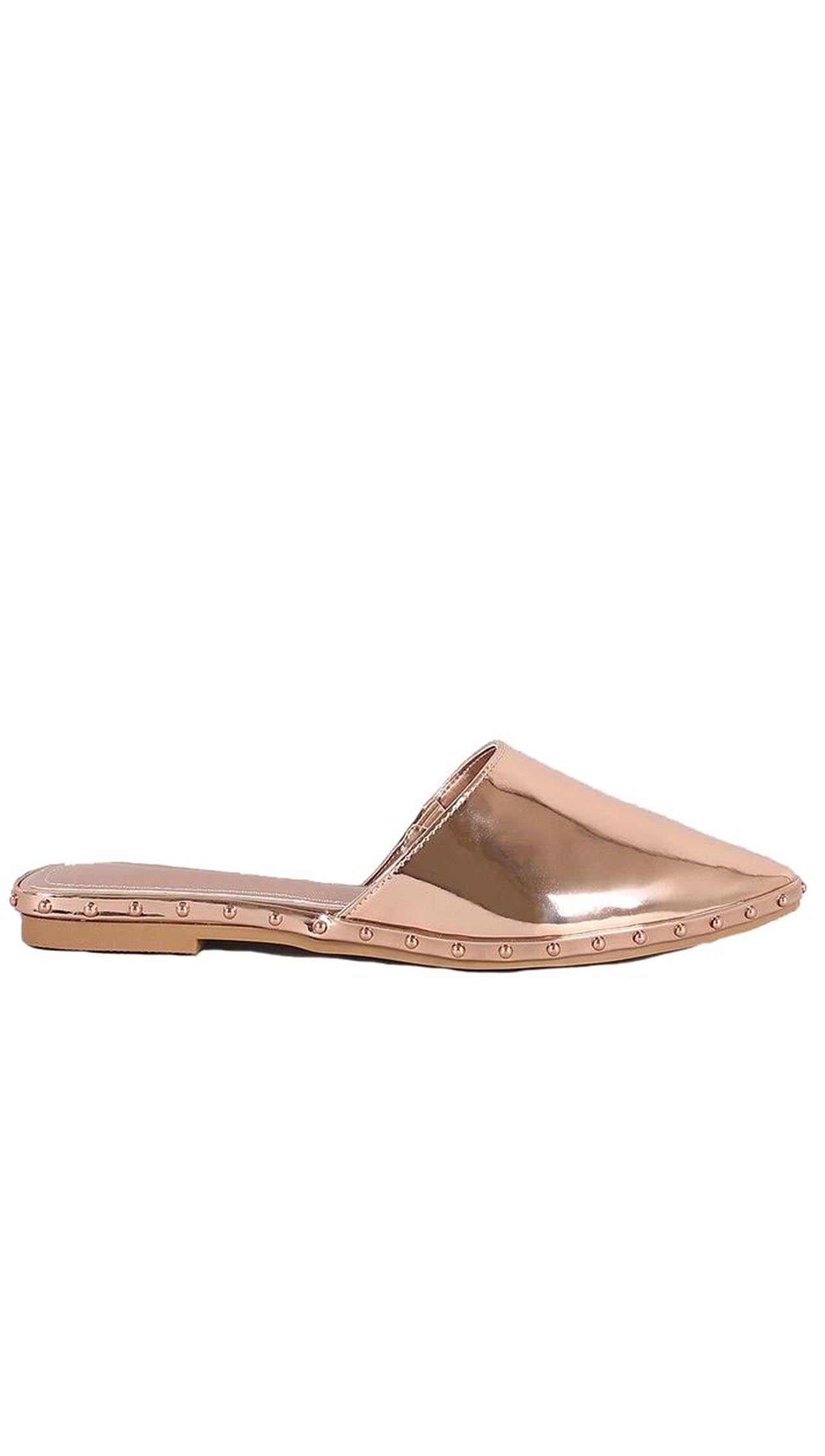 Watts Metallic Rose Gold Stud Loafer Pointy Slides Loafer Flat ShopAA
