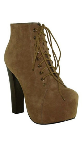 Stella Shoes Victoria Suede Lace-up Bootie in Tan