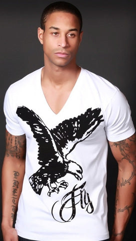 "Street Star ""Fly"" V-Neck in White"