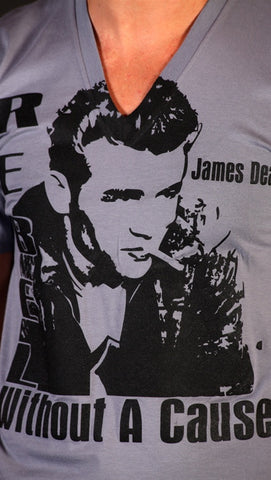 Street Star 'Original Classics' James Dean V-Neck Tee in Slate