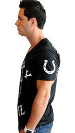 "Street Star Vintage Collection ""Lucky Devil"" V Neck Tee in Black"