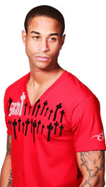 "Street Star ""Saint""  V-Neck Tee in Red"