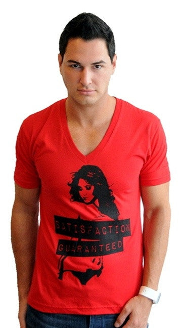 "Street Star Vintage Collection ""Satisfaction Guaranteed"" V-Neck in Red"