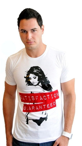 "Street Star Vintage Collection ""Satisfaction Guaranteed"" V-Neck in White"