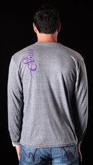 "Street Star ""Sell Out"" V-Neck Long Sleeve Tee in Grey"