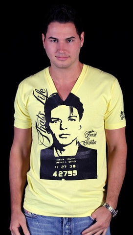 Street Star 'Original Classics' Frank Sinatra V-Neck Tee in Yellow