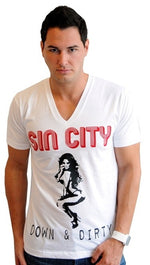 "Street Star Vintage Collection ""Sin City"" Crew Neck Tee in White"