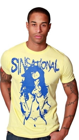 "Street Star ""Sinsational"" Crew Neck Tee Embellished w/ Swarovski Crystals in Yellow"