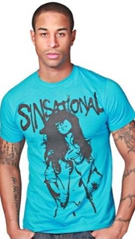 "Street Star ""Sinsational"" Crew Neck Tee in Turquoise"