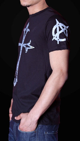 Street Star Anarchy Tee in Black/Grey