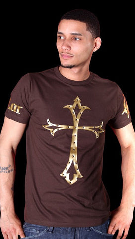 Street Star Anarchy Tee in Brown/Gold