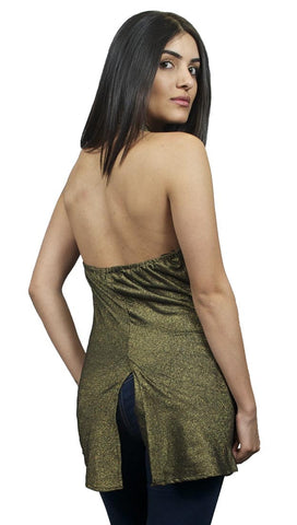 Sweetees Topaz Open Back Halter Top Black Gold