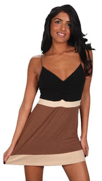 Sweetees Katia Color Block V Neck Tunic Tank Black Brown Gold