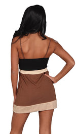 Sweetees Katia Color Block V Neck Tunic Tank Black Brown