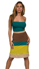 Sweetees Lou Tube Strapless Color Block Stripe Midi Dress Green Lime Gold