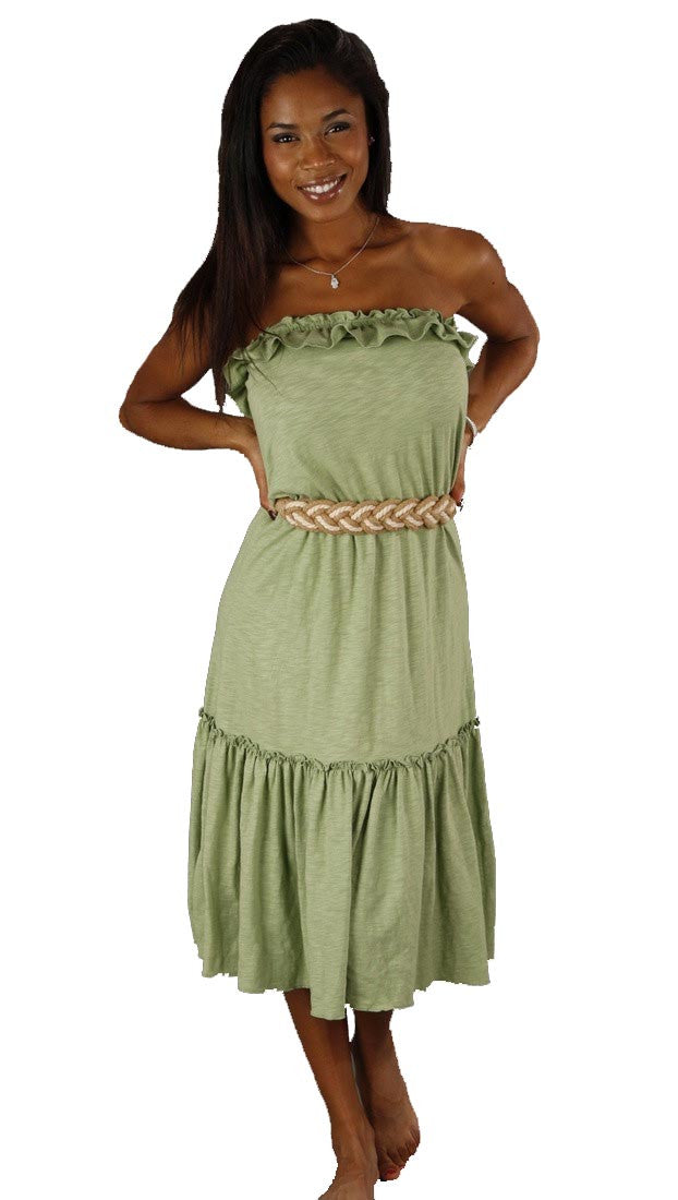 Sweetees Cinnamon Strapless Ruffle Soy Dress Braided Rope Belt Green