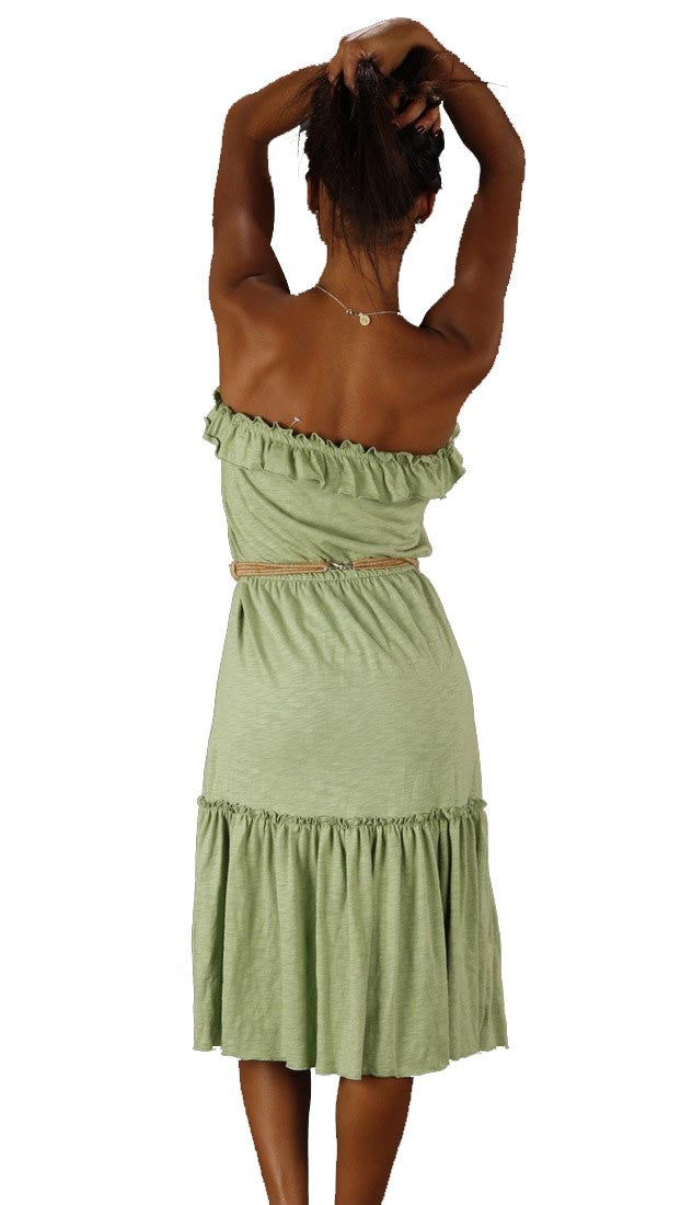 Sweetees Cinnamon Strapless Dress Braided Rope Belt Green