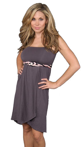 weetees Chick Braided Ribbon Strapless Dress Grey