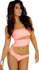 Swimgerie Striptease Strapless Cut Out Monokini in Coral