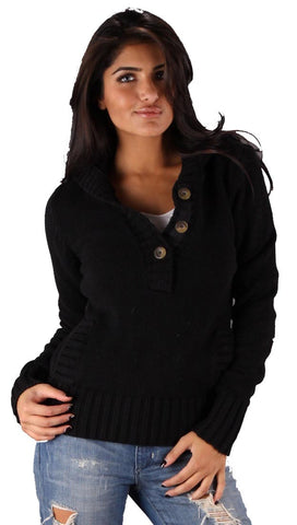 Sweet Romeo Pullover Sweater Black Pocket Knit Hoody