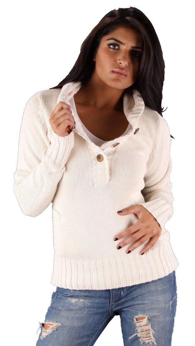Sweet Romeo Pullover Hooded Pocket Sweater Natural Off White