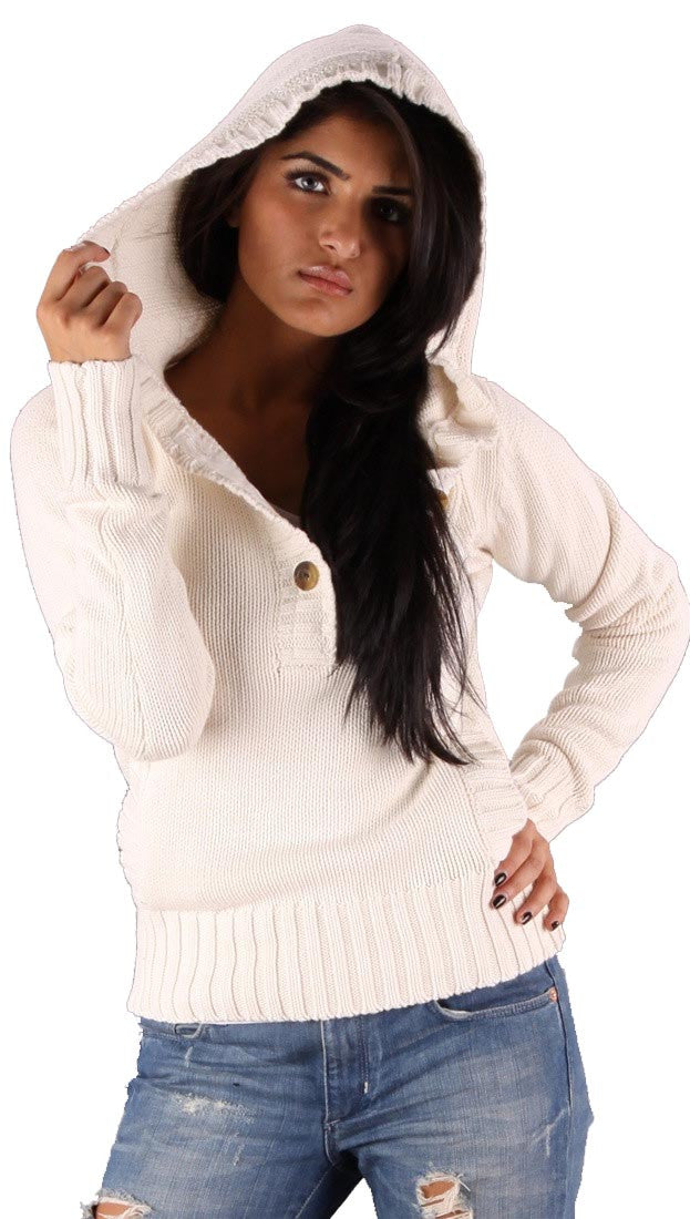 Sweet Romeo Pullover Knit Sweater Hooded Pocket Natural Off White