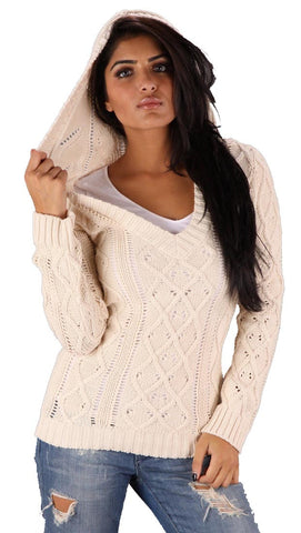 Sweet Romeo V-Neck Sweater in Natural
