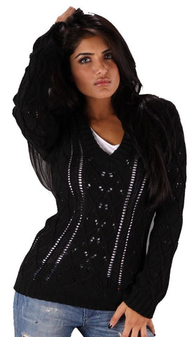 Sweet Romeo V-Neck Sweater in Black