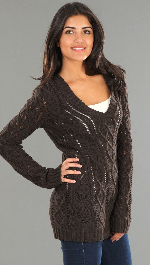 Sweet Romeo Pullover with Hood in Brown