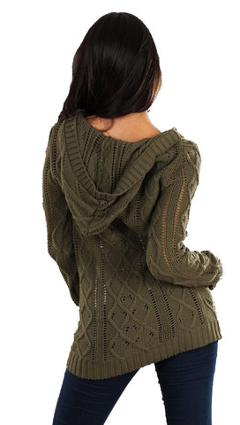 Sweet Romeo Pullover with Hood in Green
