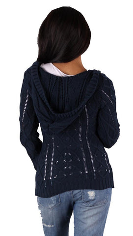 Sweet Romeo V-Neck Sweater in Navy