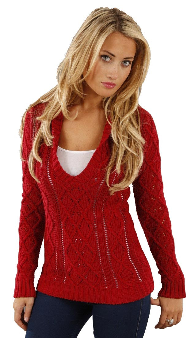 Sweet Romeo V-Neck Sweater in Red Hood