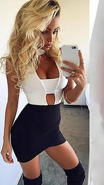 Cut Out Choker Neck Sexy Sleeveless Bodysuit in White - ShopAA