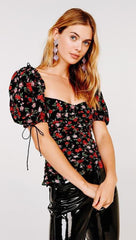 For Love & Lemons Tainted Button Front Top Ditsy Rose Romance l ShopAA